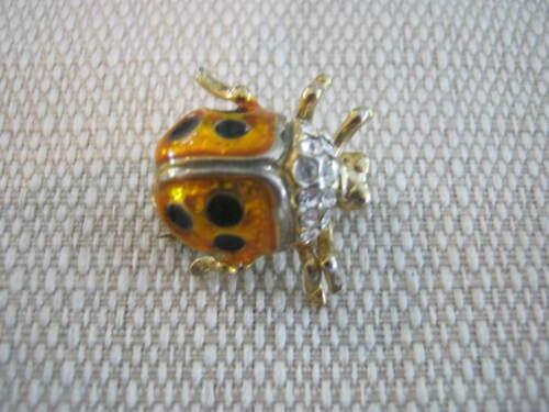 Ornate Vintage Ladybug Pin, Rhinestones, NLH