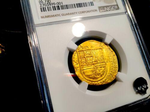 Spain 1556-98 2 Escudos Gold Cob Doubloon Incredible Luster Atocha Era Treasure