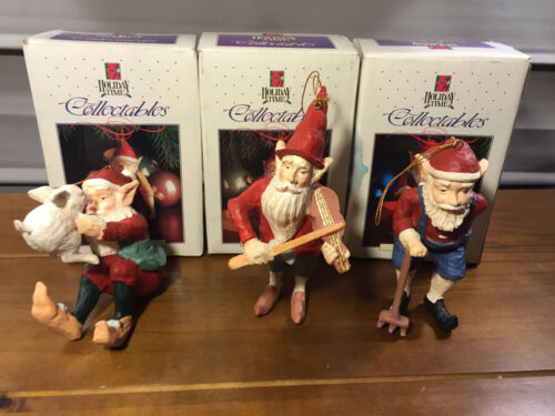 3 Holiday Time Collectables Hand Painted Santa
