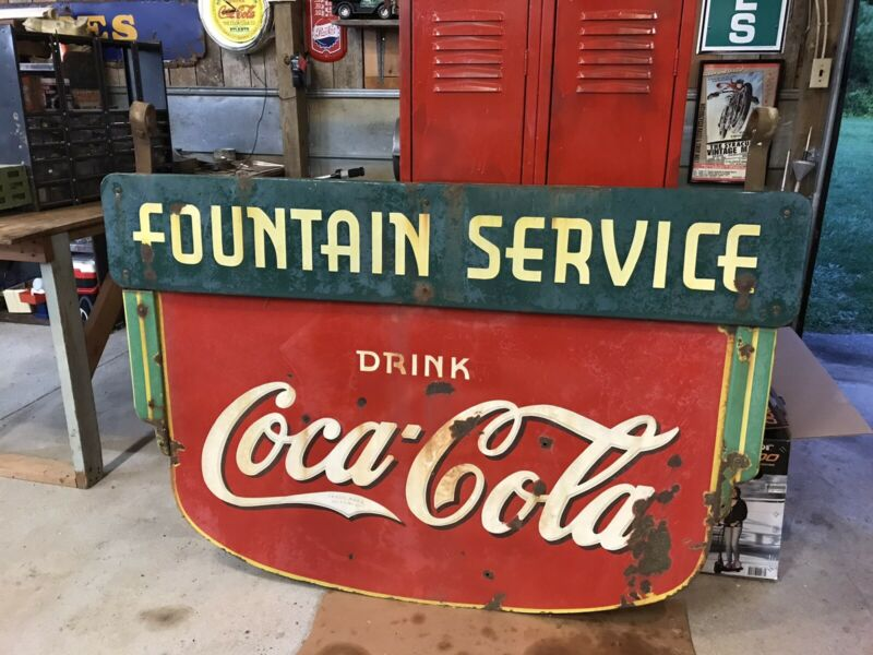 Rare Original Coca Cola Porcelain Sign Fountain Service 1930's Soda Signs Coke