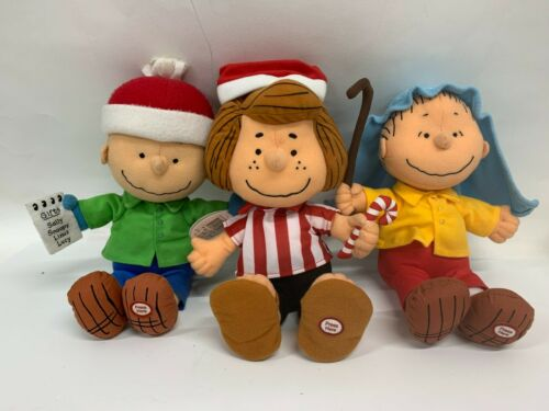 Charlie Brown Peppermint Patty Linus Christmas Plush Talks Hallmark
