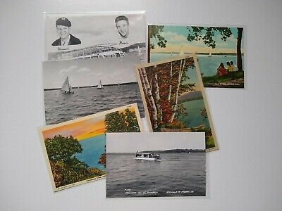 Mixed Lot of 6 1950s Iowa Postcards RPPC Linen Curteich Lake Okoboji Spirit Lake