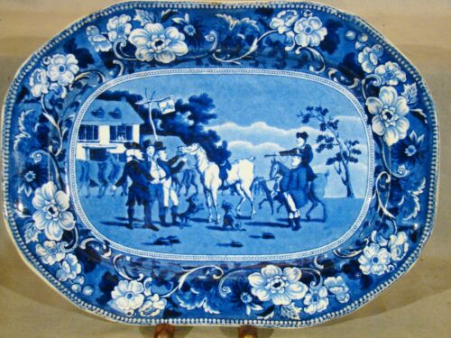 "Antique Clews Stone ChinaTransfer Dark Blue Dr. Syntax Platter 12"" 1818-1834"