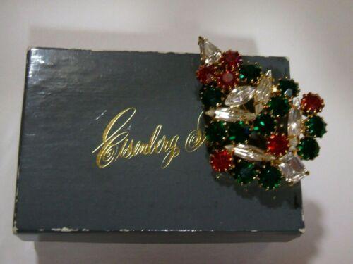 Rhinestone  Christmas  Tree  Pin  -  Signed  EISENBERG ICE