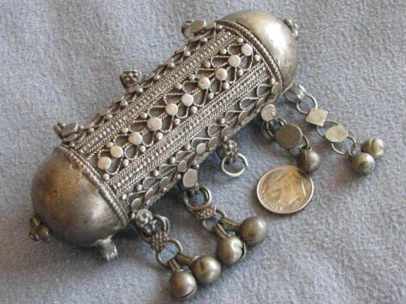 HUGE Antique Silver Islamic Herz  Prayer Box Pendant  Afghanistan? India?