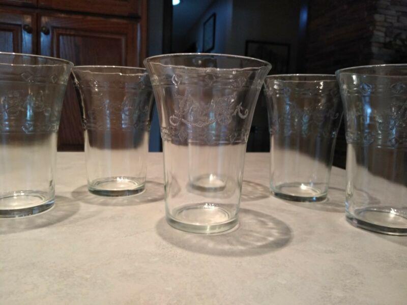Set Of 6 Vintage Pepsi Cola Glasses Etched