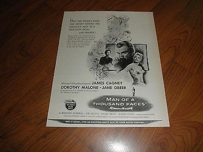 """JAMES CAGNEY_""""MAN OF A THOUSAND FACES""""-Original Movie Promo AD-1957"""