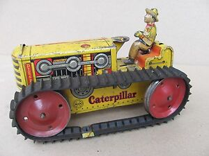 Vintage Wind Up Marx Caterpillar Bulldozer Tractor WORKS - Rare Ver With Driver!