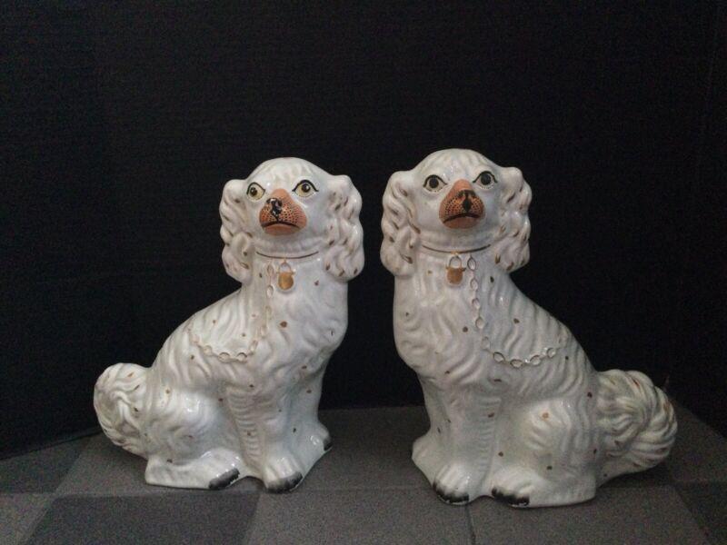 LARGE Stunning Rare Pair English Porcelain Staffordshire Spaniel Mantle Dogs