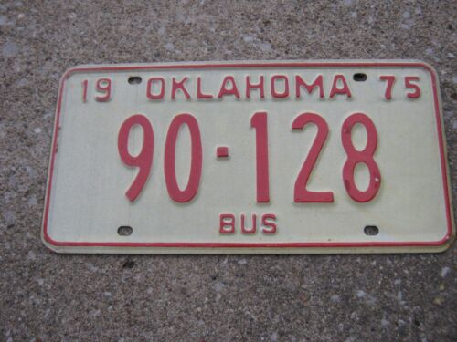 1975 Oklahoma BUS 90128 License Plate only 1