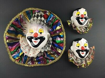 Vintage Porcelain Mini Clown Mask Wall Hanging Set Of 3