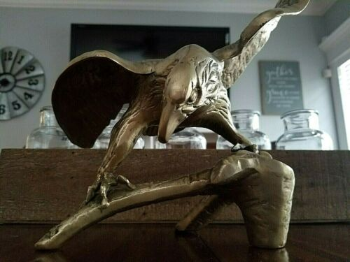 "Vintage Brass Eagle Statue 13"" Wingspan Perching on Branch.  Striking!"