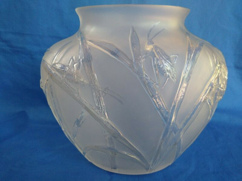 Vintage Oval Phoenix Consolidated Frosted Glass Grasshopper Vase