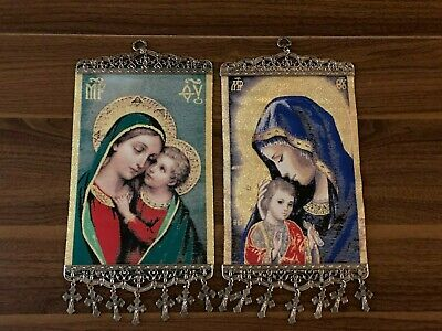 Religious Pair of icon banners Tapestry Madonna & Child Pure Cotton Gold yarn
