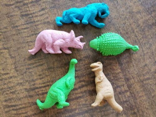 Vintage Rubber Eraser Dinosaur Figure Prehistoric Animal Lot Sabertooth T-Rex