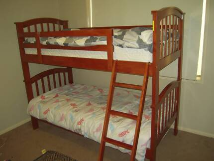 Wooden Single Bed Bunk with mattresses in good condition.