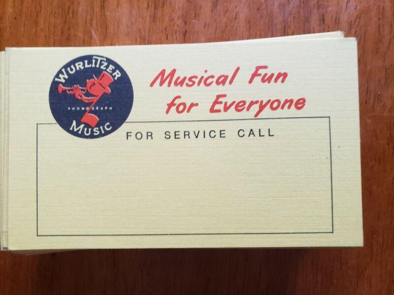 Lot of 25 Rare NOS Original Blank Wurlitzer For Service Call Cards