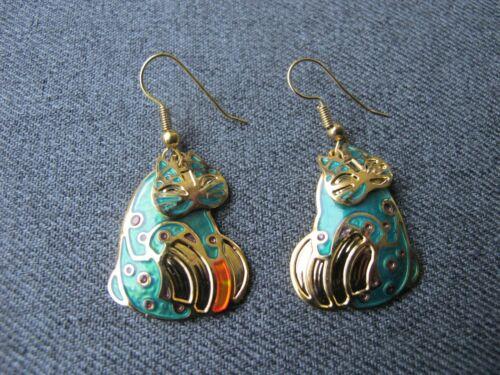 Vintage signed Berebi movable head enamel golden metal cat earrings
