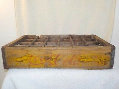 Vintage COCA COLA Yellow Wood Crate 24 count