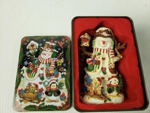 """Grandeur Noel """"Snowman"""" Christmas Ornament in Tin"""