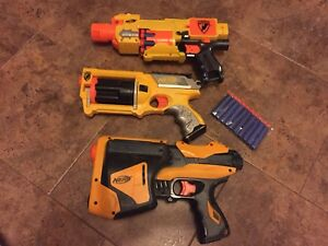 3 Nerf Guns With New Bullets and Extra
