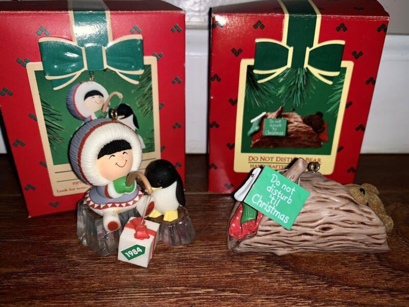 Hallmark Christmas Ornaments W/Box Lot 2 1984 Frosty Friends Don't Distuo Bear