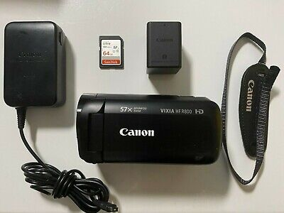 Canon VIXIA HF R800 Camcorder Video Camera (Black) USED +64GB memory card
