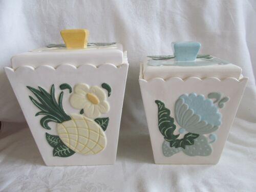 Vintage Ceramic Pottery Square Canister Fruit Floral Birds 1960