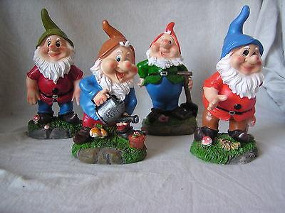 Gartenzwerge, 4er Set, 16,5 - 18,5 cm hoch, Zwerge, Garten, Dekoration, Zwerg