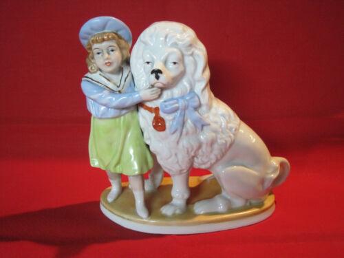 Vintage Kornilov Bros porcelain Cavalier King Charles Spaniel girl figurine 1927