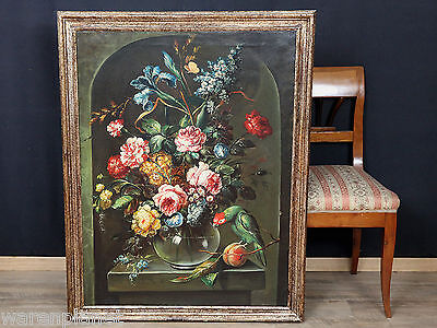ÖL GEMÄLDE ANTIK?  PRUNK STILLLEBEN ALTMEISTER PAPAGEI 114x89cm old oil painting