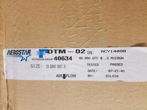 "New Aerostar 40634 Hepa Filter 99.99% Eff @ 0.3 Micron  23.62"" X 47.62"" X 7.31"""