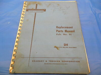 Kearney Trecker Milwaukee 2h Milling Machine Replacement Parts Manual Hr-93