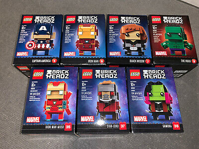 LEGO BrickHeadz Marvel Iron Man,MK50,The Hulk,Captain America,Black Widow,Star