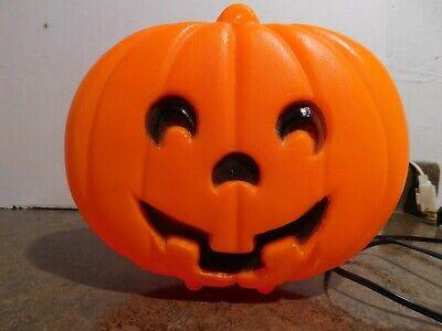 "VTG 8"" Blinky Flat Hanging Glow Lite Halloween Jack-O-Lantern Pumpkin Blow Mold"