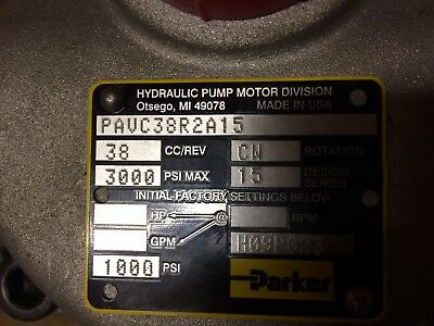 New Parker Hydraulic Pump 3000psi. Series 15. Pavc38r2a15 Cw Rotate. 78 Shaft