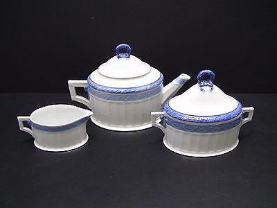 Royal Copenhagen FAN SERVICE BLUE Tea Set - Teapot, Creamer & Sugar Bowl w/Lid