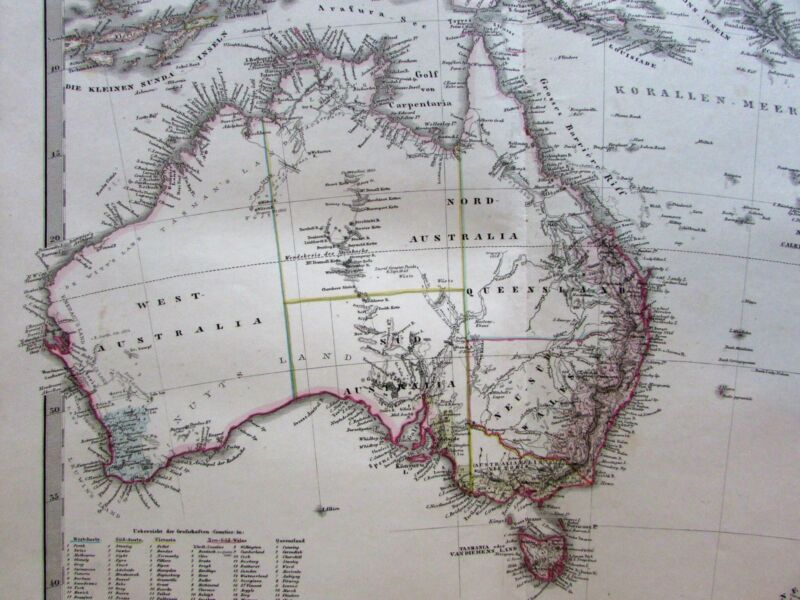 Australia New Zealand Oceania Stieler map 1862 Stulpnagel variant details