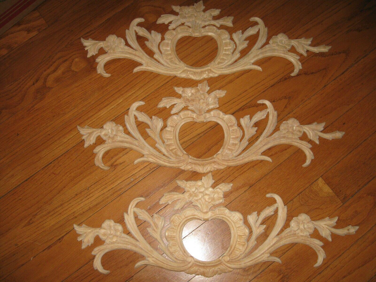 Vintage Lot of 3 Wood Carved Floral Pediment Furniture Decor