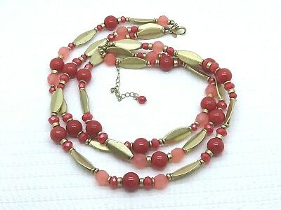 Premier Designs Pink Mauve Marbled Frosted Glass Gold Bead 3 Strand Necklace
