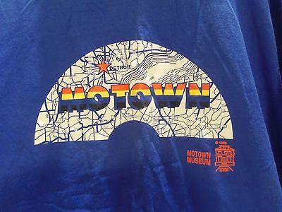 VINTAGE 1988 MOTOWN MUSEUM LOGO T-SHIRT (XL) BLUE (HITSVILLE U.S.A. LOGO) RARE