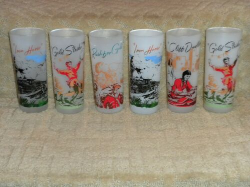 "6 Frontier Gas & Oil Frosted Glasses ""Frontier Land"" Promotional Blakely Style"