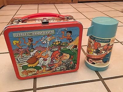 Vintage 1971 Aladdin Pebbles And Bamm Bamm Metal Lunchbox And Thermos