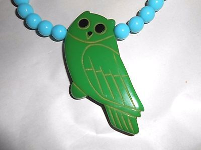 Vintage Carved Bakelite Green Owl Bird Pendant Choker Blue Bead Necklace