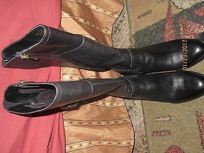 FRANCO SARTO Black Leather Knee High Boots Women Size 8.5 M