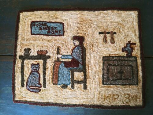 American Folk Art Hooked Rug Initialed Dated Primitive Farmhouse Kitchen