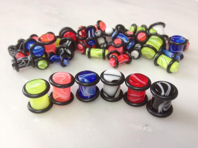 P#155 - 48pc Marble Acrylic Plugs 0g,2g,4g,6g wholesale