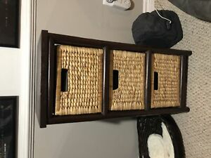 Side Table with Wicker Baskets