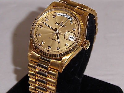 CROTON SOLID 18K SWISS AUTOMATIC LAST 2 PICTURES ADDED BY REQUEST