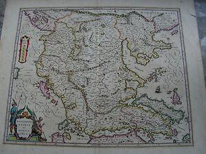 GRIECHENLAND MACEDONIEN ACHAIA kolorierte Kupferstichkarte 1640 G.BLAEU